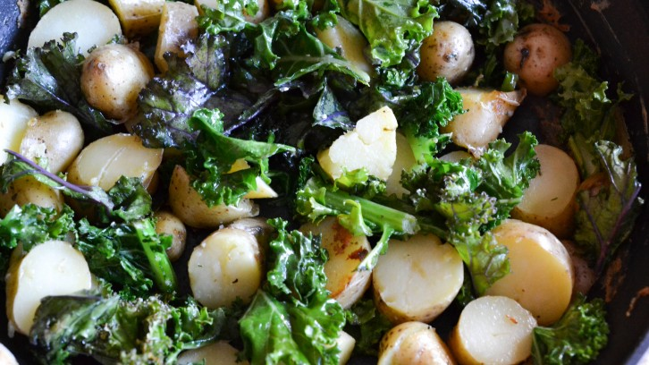 "Herbed Potatoes with Kale and A School Wide ""Eat A Rainbow"" Celebration"