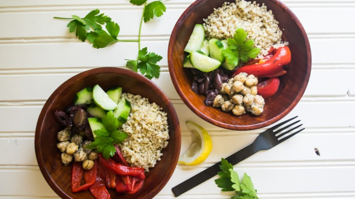 Mediterranean Quinoa Bowls with Lemon Shallot Dressing