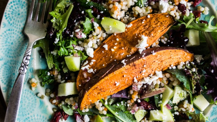 Chili-Roasted Sweet Potato and Pearl Couscous Salad