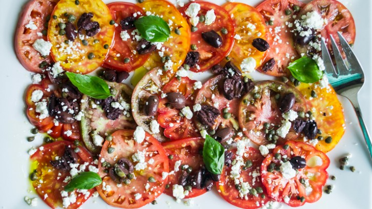 Mediterranean Inspired Heirloom Tomato Salad