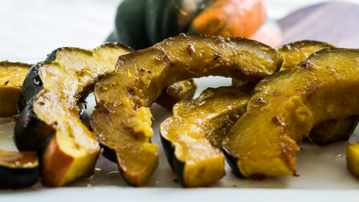 Roasted Acorn Squash {lightly dusted with brown sugar & butter}