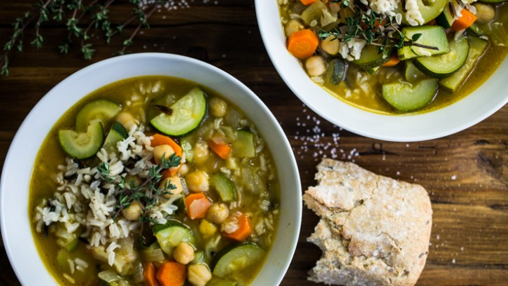 Eat Healthier and Feel Your Best in 2015  + Zucchini and Chickpea Soup with Wild Rice