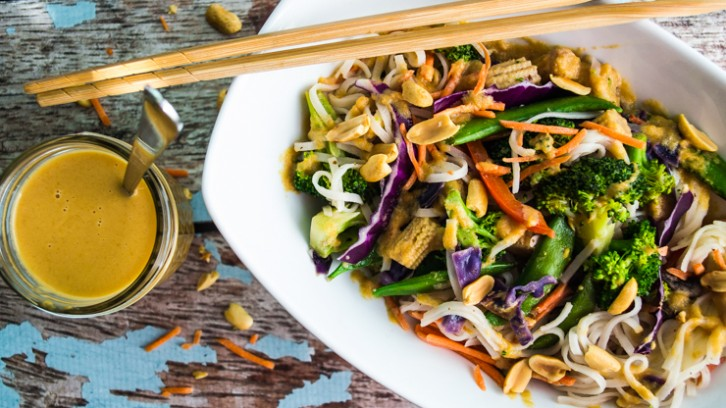 Quick and Easy Vegetable Pad Thai with Creamy Orange Peanut Sauce