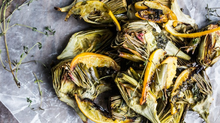 Roasted Baby Artichokes in Herbed Meyer Lemon Oil