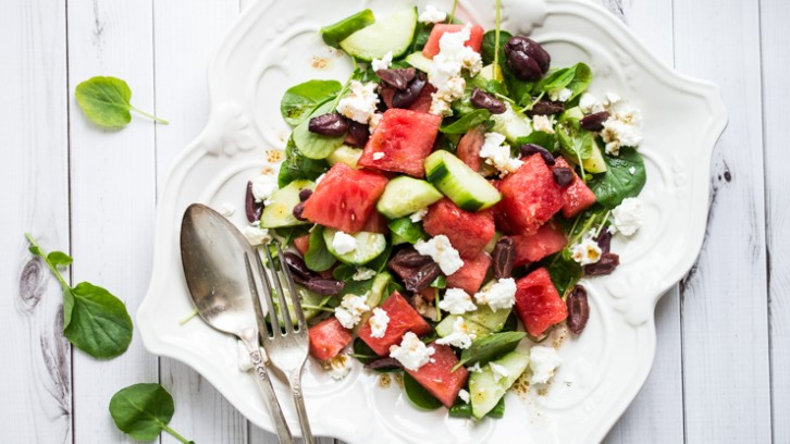 "Watermelon and Cucumber ""Powerhouse"" Salad with Watercress"