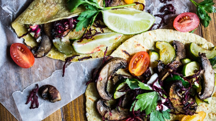 Zucchini and Baby Portobello Tacos with Crispy Shredded Beets