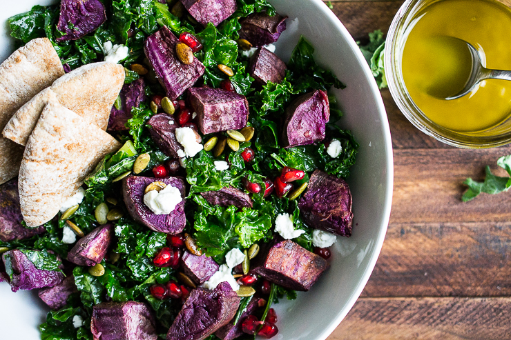 Warm Kale and Purple Sweet Potato Salad with Maple Cider Dressing and Cinnamon Pita Chips
