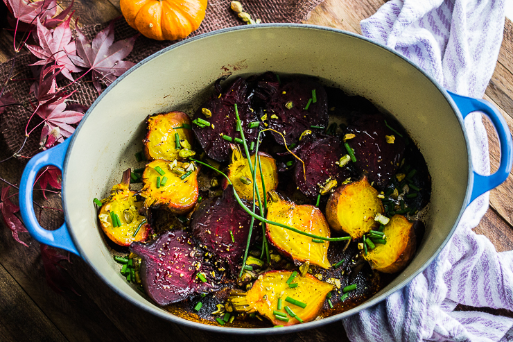 Simple Roasted Beets with Pistachios and Chives
