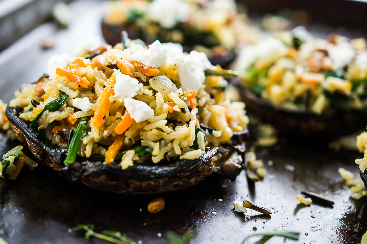 Stuffed Portobello Mushrooms with Wild Rice