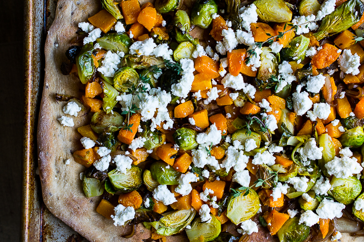 Brussels Spouts and Butternut Squash Pizza with Caramelized Onions