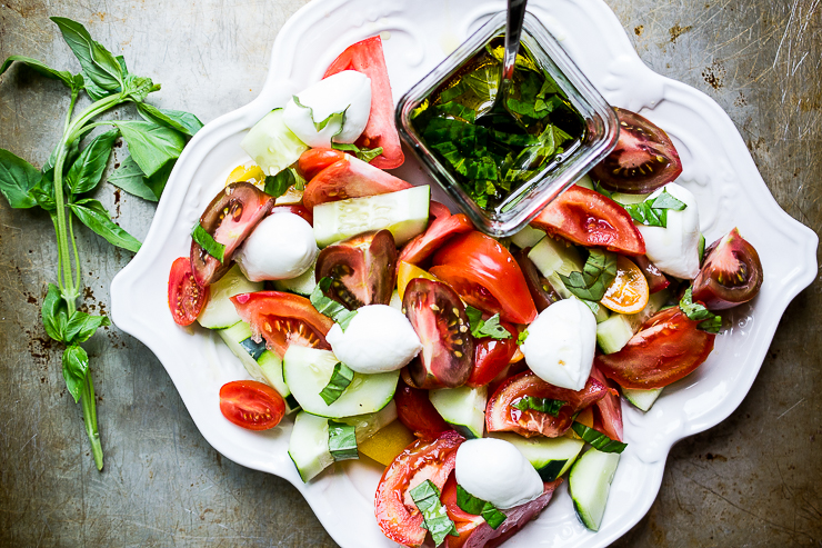 Tomato Cucumber Salad with Bocconcini di Bufala and Basil Vinaigrette