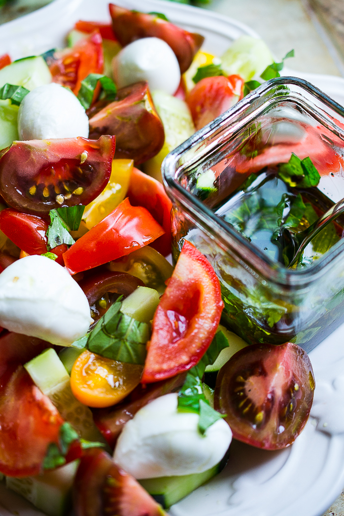 Tomato and Cucumber Salad with Bocconcini di Bufala