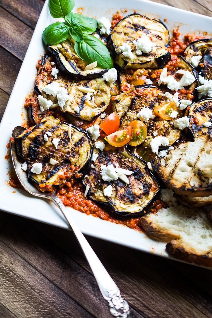 Grilled Eggplant with Romesco Sauce