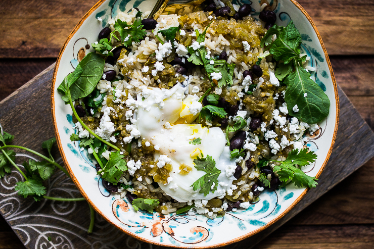 Baby Kale, Black Bean and Brown Rice Bowl with Poached Egg and Salsa Verde