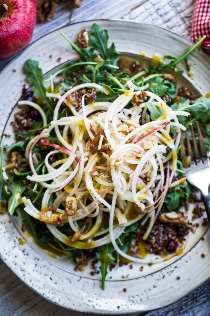 Spiralized Apple and Quinoa Salad with Fig Shallot Dressing