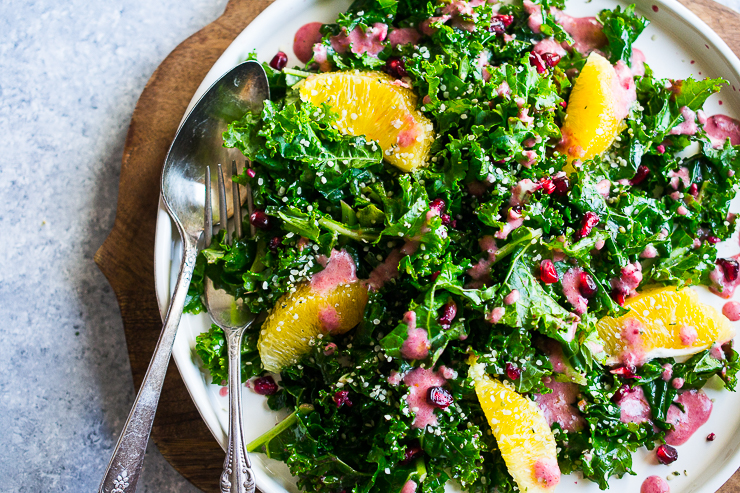 Festive Kale Salad with Pomegranate Dressing