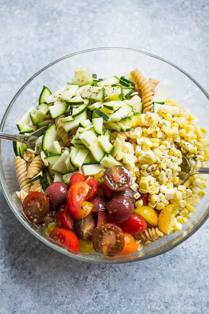 End of Summer Red Lentil Pasta Salad