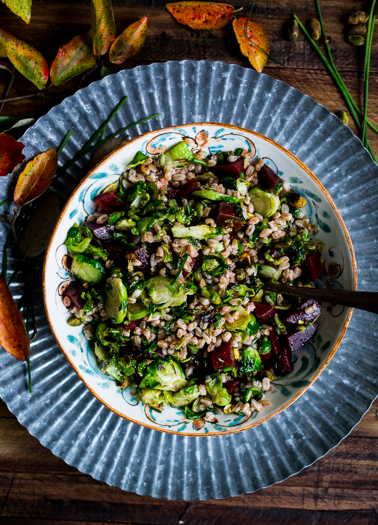 Farro Salad with Beets and Roasted Brussels Sprouts
