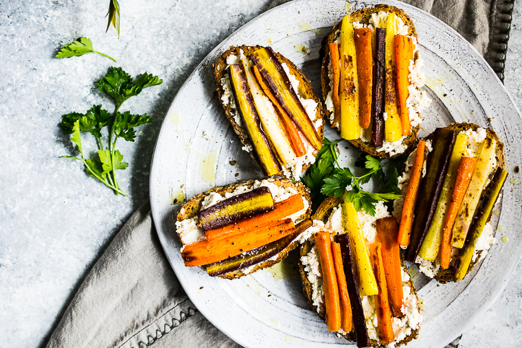 Garlicky Roasted Carrot Bruschetta