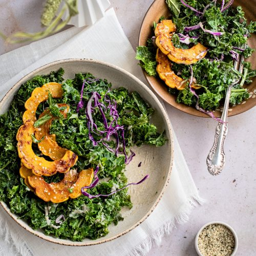 Vegan Delicata Squash and Kale Salad