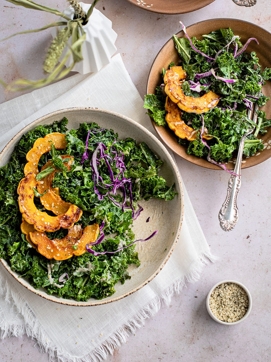 Vegan Delicata Squash and Kale Salad with Maple Tahini Dressing