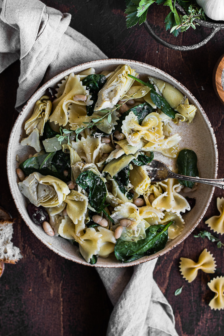Farfalle with Artichokes, White Beans & Spinach