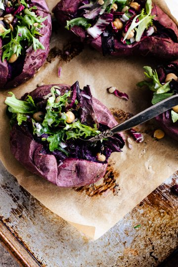 Salad Stuffed Purple Sweet Potatoes