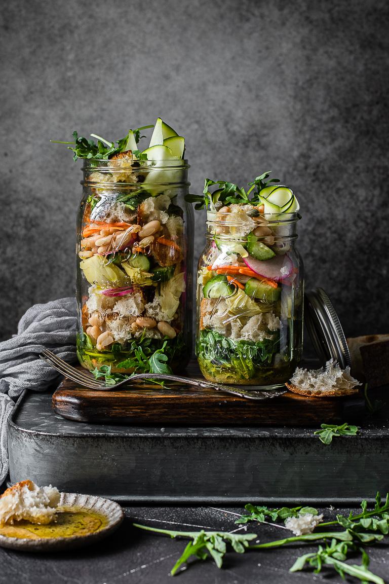 Spring Panzanella Mason Jar Salad