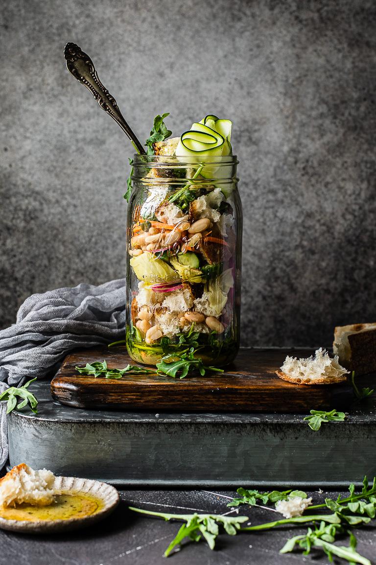 Spring Panzanella Mason Jar Salads
