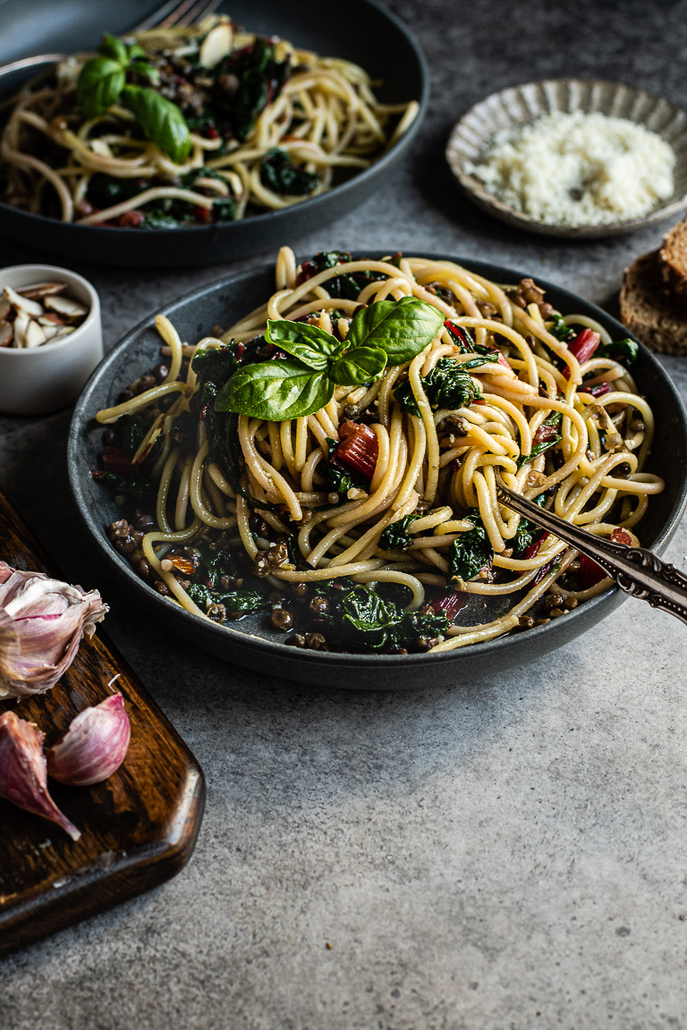 Spaghetti with Chard & Lentils