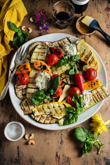 Grilled Vegetables with Herbed Cashew Ricotta