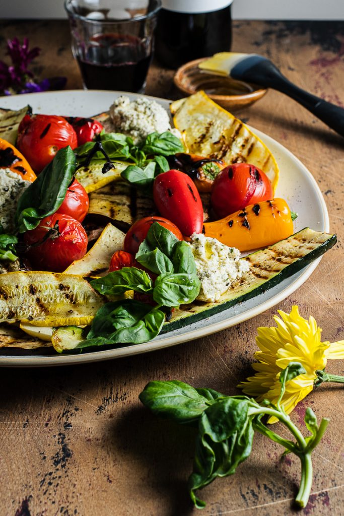 Grilled Vegetable Platter with Basil Cashew Ricotta