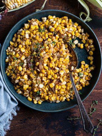 Corn with Caramelized Shallots and Thyme