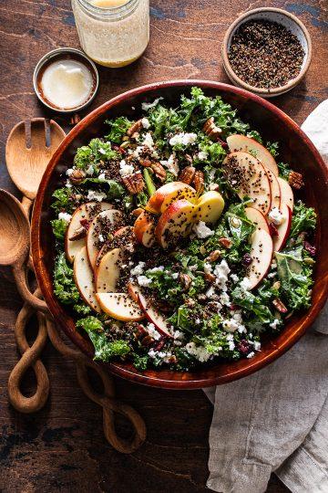 Kale & Apple Salad with Quinoa Crisps